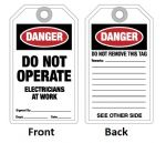 "Tag ""DO NOT OPERATE/ELECTRICIANS"