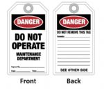 "Tag ""DO NOT OPERATE-MAINT.DEPT."""
