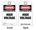 "Tag ""DANGER - HIGH VOLTAGE"""